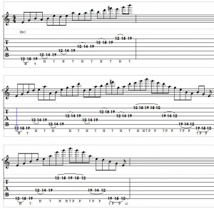 Pentatonic Tapping Lick Tablature