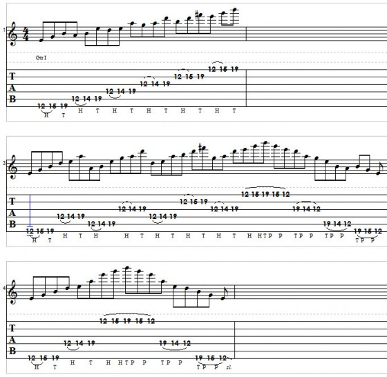 Pentatonic Tapping Lick Tablature Full